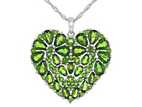 Green Chrome Diopside Rhodium Over Sterling Silver Pendant With Chain 9.39ctw