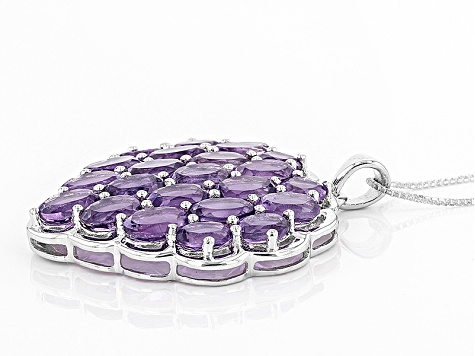Purple Amethyst Sterling Silver Pendant With Chain 12.83ctw