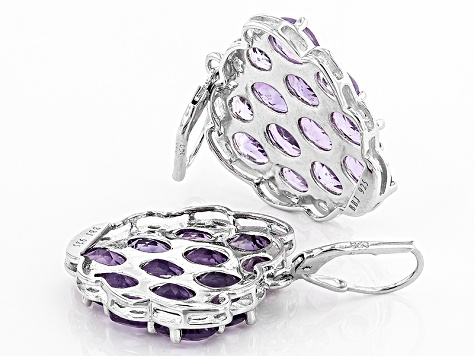 Purple Amethyst Sterling Silver Heart Earrings 14.97ctw
