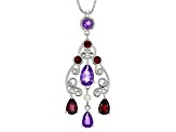 Purple Amethyst Sterling Silver Pendant With Chain 2.27ctw