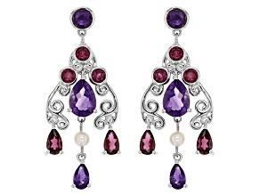 Purple African Amethyst Sterling Silver Earrings 3.09ctw
