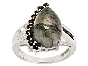 Golden Pyrite Sterling Silver Ring .44ctw
