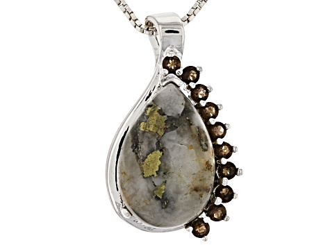 Golden Pyrite Sterling Silver Pendant With Chain .34ctw