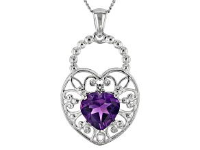 Purple Amethyst Sterling Silver Pendant With Chain 1.48ctw