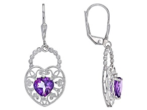 Purple Amethyst Sterling Silver Earrings 2.03ctw