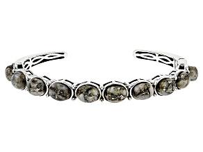 Golden Pyrite Sterling Silver Cuff Bracelet