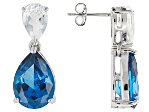 Blue Lab Created Spinel Sterling Silver Earrings 12.60ctw