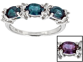 Color Change Lab Alexandrite Sterling Silver Ring 1.85ctw
