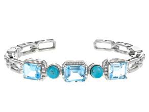 Sky Blue Topaz Sterling Silver Cuff Bracelet 14.28ctw