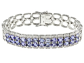 Blue Tanzanite Sterling Silver Braclet 8.87ctw