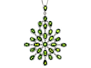 Green Chrome Diopside Sterling Silver Pendant With Chain 6.50ctw