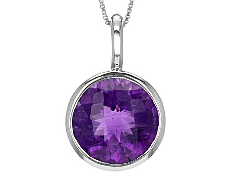 Purple Amethyst Sterling Silver Pendant With Chain 10.02ct
