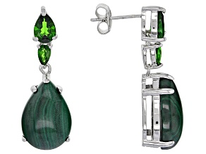 Green Malachite Sterling Silver Earrings 1.65ctw