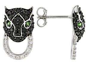 Black Spinel Sterling Silver Earrings 1.19ctw
