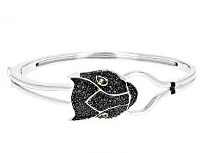 Black Spinel Sterling Silver Panther Bracelet 1.94ctw