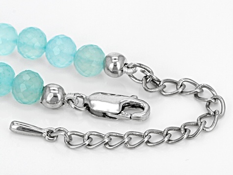 Blue Chalcedony Sterling Silver Bead Necklace