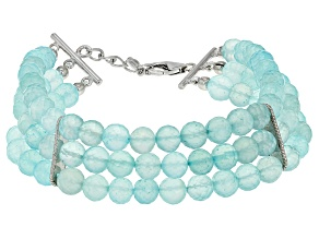 Blue Aqua Color Chalcedony Sterling Silver 3-Strand Bracelet
