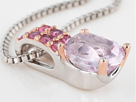 Pink Kunzite Sterling Silver Pendant With Chain 1.06ctw