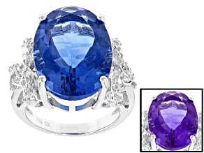 Blue Color Change Fluorite Sterling Silver Ring 18.60ctw