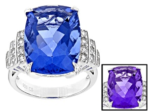 Blue Color Change Fluorite Rhodium Over Sterling Silver Ring 18.06ctw