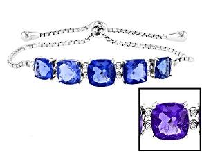 Blue Color Change Fluorite Sterling Silver Bolo Bracelet 19.50ctw
