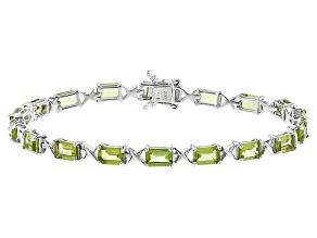 Green Peridot Sterling Silver Bracelet 10.91ctw