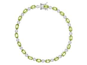 Green Peridot Sterling Silver Bracelet 7.37ctw