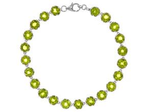Green Peridot Sterling Silver Bracelet 19.20ctw