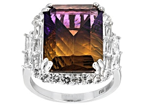 Bi-Color Lab Created Ametrine Sterling Silver Ring 10.48ctw