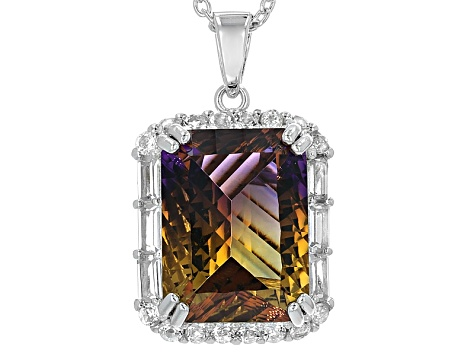 Bi-Color Lab Created Ametrine Silver Pendant With Chain 9.96ctw