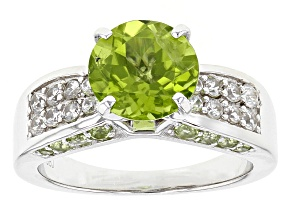Green Peridot Sterling Silver Ring 3.61ctw