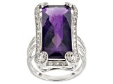 Purple Amethyst Sterling Silver Ring 12.37ctw