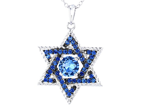 Blue lab spinel sterling silver star of david pendant with chain blue lab spinel sterling silver star of david pendant with chain 116ctw aloadofball Choice Image