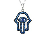 Blue Lab Spinel Sterling Silver Hamsa Pendant With Chain .60ctw