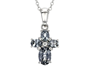 Gray Platinum Color Spinel Rhodium Over Silver Cross Pendant With Chain .93ctw