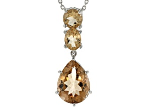 Brown Champagne Quartz Silver Pendant With Chain 8.61ctw