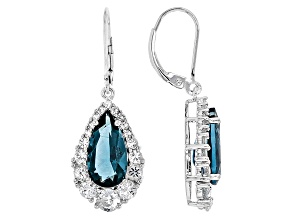 Blue Fluorite Sterling Silver Earrings 7.88ctw