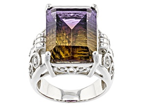 Bi-Color Lab Created Ametrine Sterling Silver Ring 13.03ctw