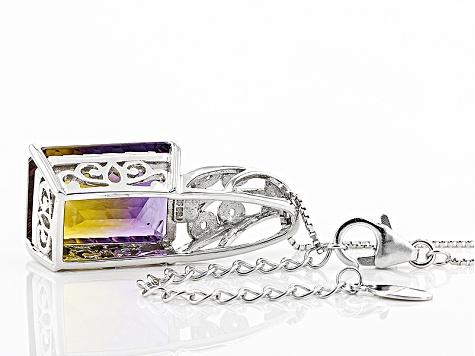 Bi-Color Lab Created Ametrine Silver Pendant With Chain 12.42ctw
