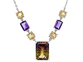 Bi Color Lab Created Ametrine Sterling Silver Necklace 8.66ctw