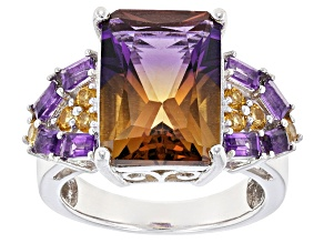 Bi-Color Lab Created Ametrine Sterling Silver Ring 6.37ctw