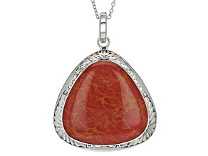 Red Coral Rhodium Over Sterling Silver Enhancer With Chain