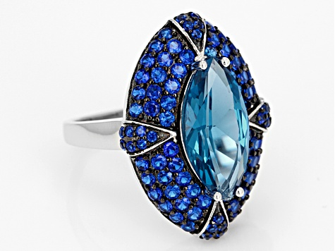Blue Lab Created Spinel Sterling Silver Ring 5.67ctw