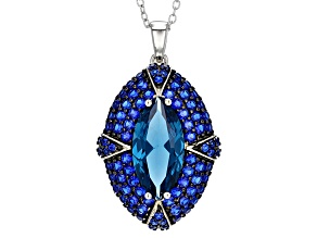Blue Lab Created Spinel Sterling Silver Pendant With Chain 5.67ctw