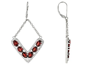 Red Garnet Sterling Silver Earrings 7.23ctw