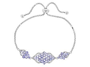 Blue Tanzanite Sterling Silver Bolo Bracelet 2.92ctw
