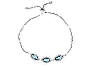 Blue Teal Fluorite Sterling Silver Bolo Bracelet 3.86ctw