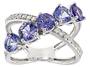 Blue Tanzanite Sterling Silver Crossover Ring 2.69ctw