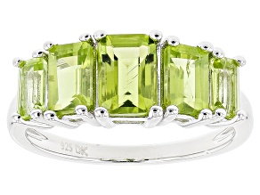Green Peridot Sterling Silver Ring 2.74ctw