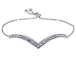 Blue Tanzanite Sterling Silver Bolo Bracelet 2.29ctw